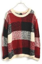 Red Long Sleeve Plaid Loose Knit Sweater $40