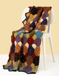 Snowball Quilt Afghan from lion brand yarn. Free crochet pattern
