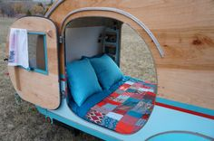Interior of a DIY Teardrop Trailer by Homespun Harros Our website lots of great images!