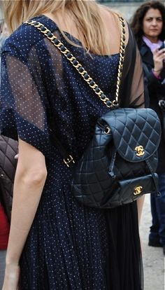 Vintage Chanel Quilted Leather Backpack.