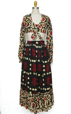 1970s batik hippie boho two piece belly top and maxi skirt set