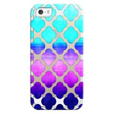Cobalt Blue, Hot Pink & Mint Watercolor Moroccan Pattern on Clear -... ($35) ❤ liked on Polyvore featuring accessories, tech accessories, phone cases, iphone case, iphone cases, mint iphone case, iphone cover case, mint green iphone case and apple iphone cases