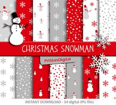 Christmas Snowman Digital Paper Pack with Red & by PrtSkinDigital