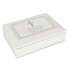 Personalised First Communion Wooden Keepsake Box - White with Silver Cross - for Daughter Granddaughter Goddaughter Godson Grandson Nephew Brother