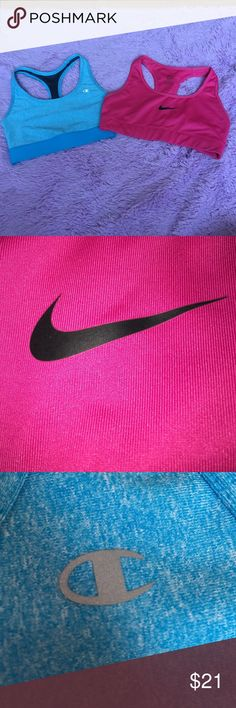2 sports bras one Nike and one champion sports bras in perfect condition Nike Other