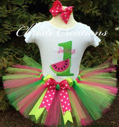 Watermelon--Baby Girl 1st Birthday Tutu Outfit--Birthday Party--Personalized--First Birthday on Etsy, $60.00