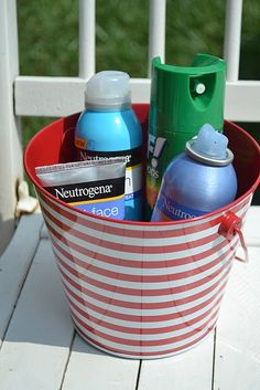 Patriotic Relief Station - have sunscreen bug spray on hand for guests. Panda Birthday, Luau Birthday, Birthday Favors, Patriotic Party, 4th Of July Party, Fourth Of July, Neutrogena, Hawaiian Luau Party, Throw A Party