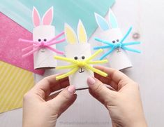 This toilet paper roll bunny is an easy Easter craft for kids. Make a paper roll bunny in different colors. Easy for kids of all ages to make!- such a cute Easter craft for kids! Winter Crafts For Kids, Halloween Crafts For Kids, Easy Crafts For Kids, Spring Crafts, Diy For Kids, Holiday Crafts, Easy Easter Crafts, Bunny Crafts, Toilet Paper Roll Crafts