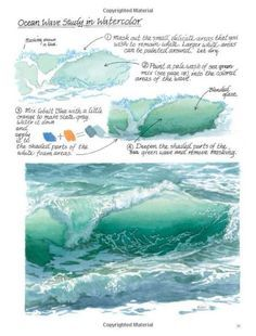 Watercolour Painting Techniques: How to paint an ocean wave guide. Watercolor Tips, Watercolour Tutorials, Watercolor Techniques, Watercolour Painting, Painting Techniques, Painting & Drawing, Watercolors, Watercolor Ocean, Water Drawing