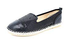 Damen Schuhe Slipper Espadrilles Ballerinas Slip-On Flats schwarz (8166) (38) - Ballerinas für frauen (*Partner-Link)