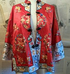 e15d8d2a5bdc Red Asian Floral Embroidered Jacket Top Chinese by thedepo on Etsy