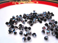 Czech 3mm Black and Silver Bicone Faceted Glass Crystals, flat rate shipping