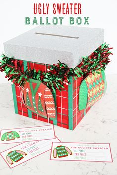 @craftingchicks created the best and tackiest DIY Ugly Sweater Ballot Box idea around! Make this for your Ugly Sweater Party, so your guests can vote for their favorite ugly sweater. Click to get the complete tutorial.