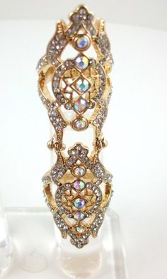Full Finger Gold AB Crystal Art Deco Filigree Joint Armor Knuckle,, beautiful