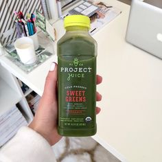"""Marissa is a fashion blogger and she gave Project Juice a try recently, and snapped this Instagram Photo after claiming we helper her start off her Saturday """"the right way🌱🍏🍐 """" The blend pictured is her favorite!"""