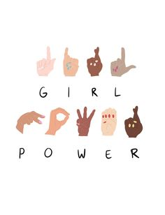 Girl Power Art Print by dazedandconfused Sign Language Phrases, Sign Language Alphabet, Learn Sign Language, Australian Sign Language, American Sign Language, Very Easy Drawing, Easy Drawings, Logo Mano, Girl Hair Drawing