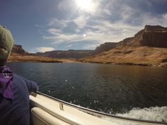 Exploring Lake Powell on our powerboat
