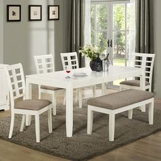 Monarch Pearl White 6 Piece 78 In. Rectangle Dining Set With Grid Back  Chairs U0026 Bench   Add A Little Fun To Your Homeu0027s Dining Area With The  Monarch Pearl ...