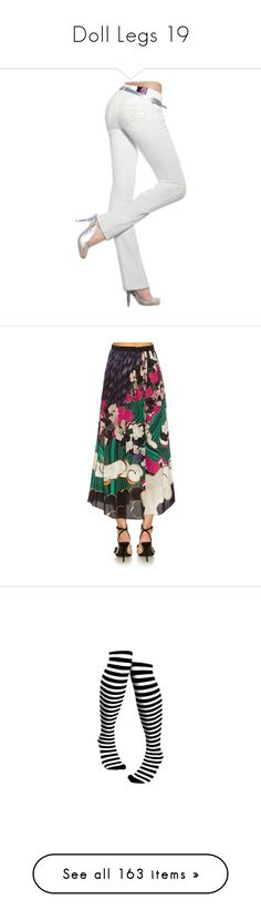 """Doll Legs 19"" by kbarkstyle ❤ liked on Polyvore featuring legs, doll legs, doll parts, dolls, pants, skirts, silk midi skirt, print cami, silk cami and print midi skirt"