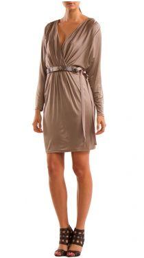 Dress W Keyhole Back, Taupe