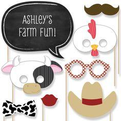 20 Farm Animals Photo Booth Props - Farm Photobooth Kit with Custom Talk Bubble…