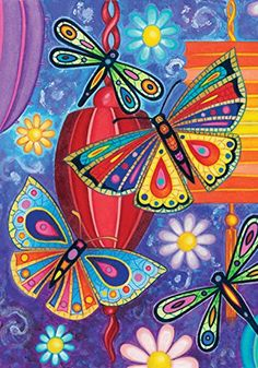 Toland  Bright Wings  Decorative Butterfly Dragonfly Colorful Multicolor USAProduced House Flag *** You can find more details by visiting the image link. Note: It's an affiliate link to Amazon