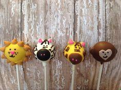 12 Zoo Cake Pops Giraffe Monkey Lion Bear Zebra Safari Noahs Ark Party Favors