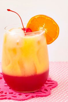 Hugs on the Beach (1/2 cup cranberry juice 1/4 cup peach nectar 2 Tbs grenadine 1/2 cup orange juice)
