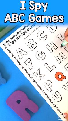 : I Spy ABC Scavenger Hunt Games and Activities for Kids--Tons of options! With these I Spy Scavenger Hunt ABC Games Alphabet Printables preschool and kindergarten students get to practice learning the alphabet in a fun way! Preschool Literacy, Preschool Letters, Preschool Printables, Literacy Activities, Activities For Kids, Abc Games For Kids, Preschool Language Activities, Teaching Resources, Kids Abc