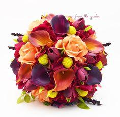 Fall Wedding Bridal Bouquet Calla Lilies Tulips Hydrangea Craspedia Roses Hops #WeddingIdeasCenterpieces