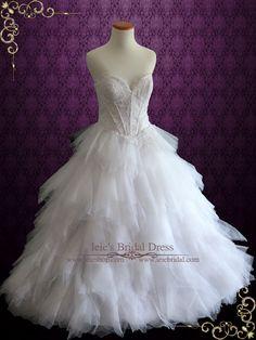 Princess Ruffle Tulle Ball Gown Style Wedding Dress | Charleen | Ieie's Wedding Dress Boutique https://www.ieiebridal.com/collections/ball-gown-wedding-dresses