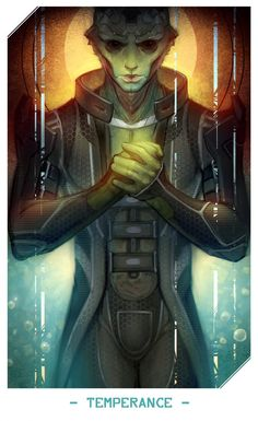 Another card for Mass Effect tarot set. Thane Krios. Let me know what you think of this choise.