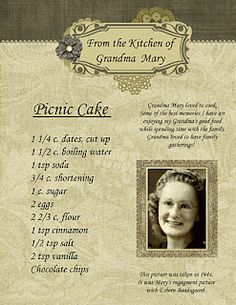 Fun Family Heirloom Cookbook template. Great way to make Family History fun!