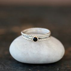 Stacking Rings Black Spinel Gemstone Solitaire Sterling Silver Twist 14k Gold Set Bands Mixed Metal Handmade Jewelry on Etsy, US$128,00