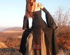 Erin a Medieval Gothic Renaissance Larp Pagan Viking Wedding Dress, Fairy Wedding Dress, Viking Dress, Medieval Dress, Medieval Gothic, Victorian Gothic, Wedding Dresses, Renaissance Fair Costume, Viking Costume
