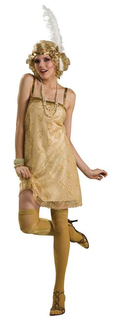 #889113 Travel back to the 20's as this Gatsby Girl. The Gatsby Girl Costume includes a golden dress with lace embellishment and flower design throughout. The feather headpiece completes the flapper l