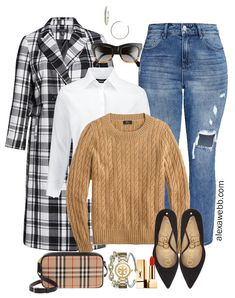 Plus Size Plaid Coat Outfit with a button down shirt, cable knit sweater, Burberry crossbody bag, distressed jeans, and pumps - Alexa Webb Source by alexandrawebb Outfits invierno Long Skirt Outfits, Modest Outfits, Jean Outfits, Sweater Outfits, Cute Outfits, Modest Clothing, Work Outfits, Clothing Ideas, Size Clothing