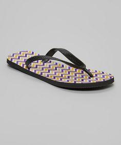 Another great find on #zulily! Purple & Gold Chevron Flip-Flops - Women #zulilyfinds
