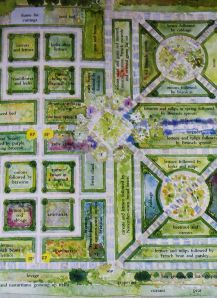 Verey's potager plan image for Barnsley House, Gloucestershire, courtesy of Rosemary Verey's Making of a Garden