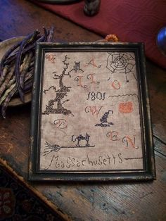 EARLY-NAIVE-LOOKING-1801-HALLOWEEN-SAMPLER-PRIMITIVE-LB