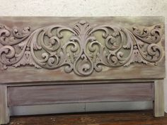 Heavily carved headboard with pastels shades of Annie Sloan Chalk Paint®