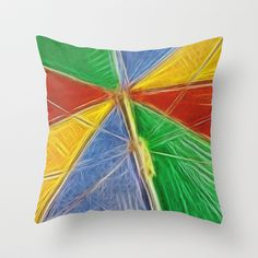 "Summertime Shade Throw Pillow by Alice Gosling - $20.00  Available in 3 sizes, with or without the insert and 16"" with cover for outside use. #pillow #cushion #home #unique #umbrella #parasol #summer #sun #funky"
