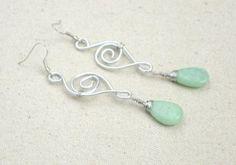 DIY Earrings jade drop spirals
