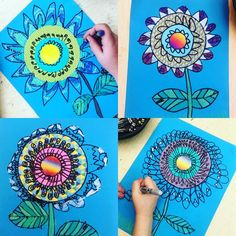 "I start First graders early with ""mandala type. I start First graders early with ""mandala type"" work. These flowers are so fun! 3 circles (Roylco has the best patterned papers and precut… Spring Art Projects, School Art Projects, Art Floral, Art 2nd Grade, Classe D'art, Art Lessons Elementary, Upper Elementary, Kindergarten Art, Collaborative Art"