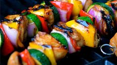 A marinade made with honey, soy sauce, pepper, and garlic puts a sweet coating on chicken pieces in this honey chicken shish kabob.