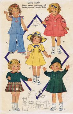 """418 Vintage Chubby Doll Pattern Sizes 18"""" 20"""" AND 25"""" Year 1936 