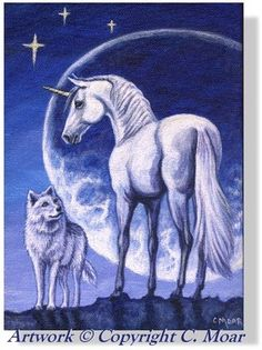 Unicorn Horse White Wolf Moon Stars Fantasy ACEO Open Edition Art Print CMOAR | eBay