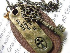 Necklace saleハンドメイド 皮×クロス×キーのネックレス 8788 インテリア 雑貨 Handmade ¥1yen 〆05月25日