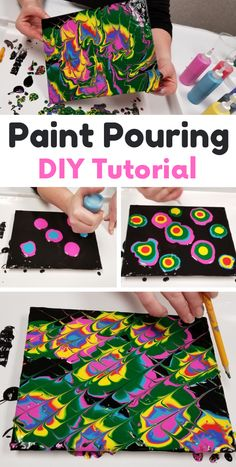 DIY paint pour activity with tempera paint - a budget friendly option for kids! art for kids Kids Painting Projects, Painting Activities, Art Activities For Kids, Fun Crafts For Kids, Painting For Kids, Diy Painting, Projects For Kids, Diy For Kids, Arts And Crafts