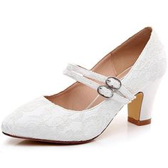 62f209178b1a 19 Best LUXVEER Mary Jane Shoes Thick Heels Lace Wedding Shoes- Low ...